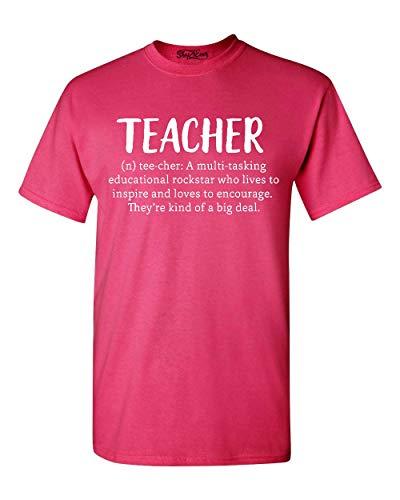 Shop4Ever Teacher Definition T-Shirt Teacher Appreciation Shirts X-Large Heliconia Pink 0