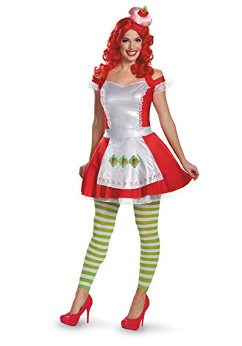 Disguise Women's Strawberry Shortcake Deluxe Adult Costume, Multi, (Strawberry Shortcake Costume Womens)