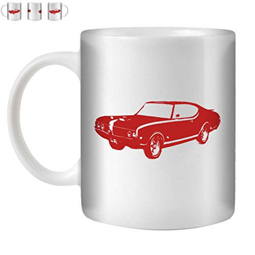 STUFF4 Tea/Coffee Mug/Cup 350ml/Red/Hurst Olds 442 Muscle/White (Oldsmobile 442 Hurst Set)