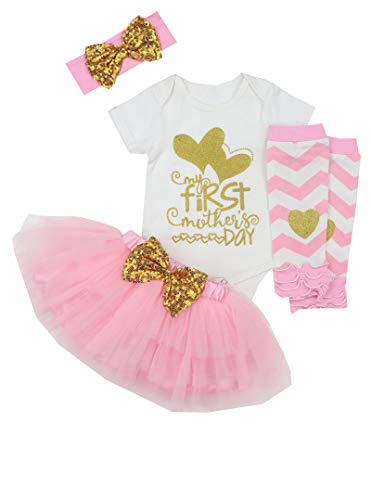 My First Mothers Day Baby Girl Outfit Romper+Tutu Dresses Shorts+Leggings+Headband 4PCS Skirt Set