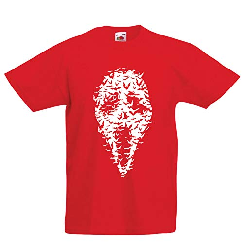lepni.me Kids T-Shirt Ghost Scary Face Bats, Halloween Party Costume (9-11 Years Red Multi -