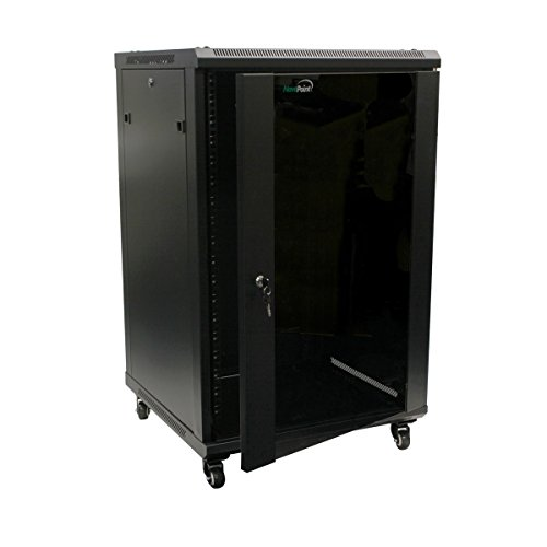 NavePoint 18U Wall Mount Server Data Cabinet 24-inch Depth Glass Door Lock and Key w/Casters ()