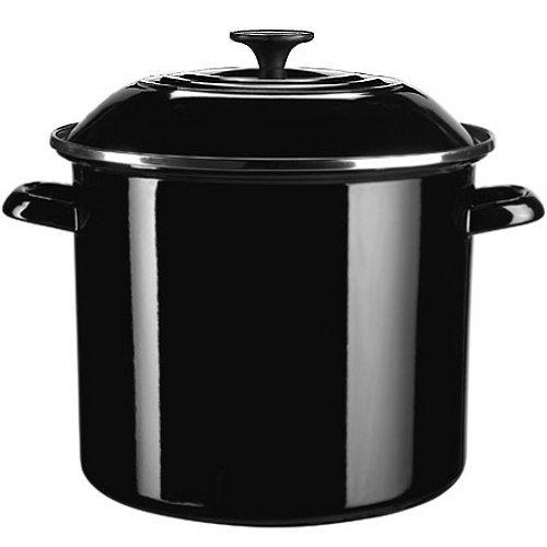 Le Creuset Enamel-on-Steel 6-Quart Covered Stockpot, Black (Black Covered Pot)