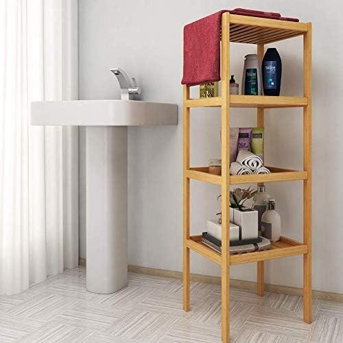 Bakaji Mobile Mobiletto Bagno Con 3 Piani Appoggio Sportello Anta Grigliata in Legno Bamb/ù Accessori Biancheria Asciugamani Arredo bagno Dimensione 36 x 33 x 140 cm
