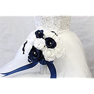 Bridal Bouquet - Navy Blue White with Ribbon and Rhinestone - Silk Flower 39