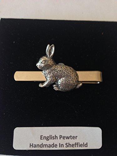 Poele a lapin en étain anglais emblème sur une pince à cravate (diapositive) fait à la main à Sheffield Livré avec prideindetails Boîte Cadeau