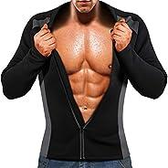 ZOME Mens Sauna Suit Workout Sweat Shirt Neoprene Zip Jacket Slimming Body Shaper Long Sleeve