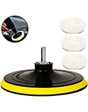 5 Pcs 6 Inch Polishing Buffer Soft Wool and Wheel Pads with Hook & Loop Woolen Waxing Pads Kits with M14 Drill Adapter for Car