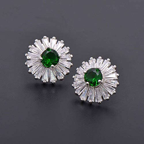 Sterling Silver Flower Shape Earring Studs for Ladies Tapered Baguette Cubic Zirconia Green