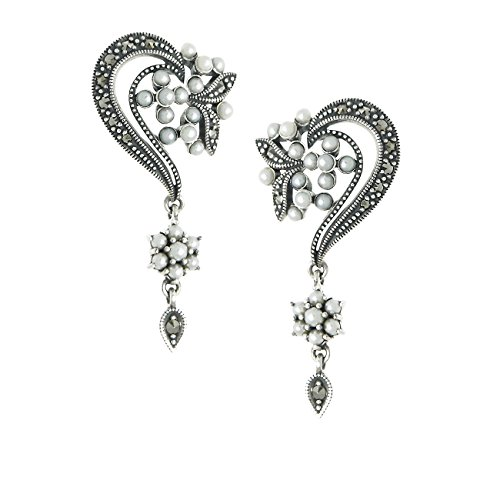 - Seed Pearl and Marcasite Delicate Dangling Earrings - 925 Sterling Silver