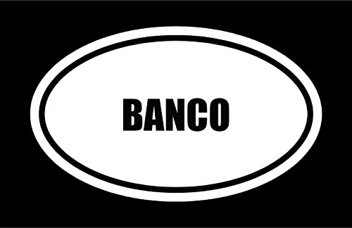 6' die cut white vinyl BANCO name oval Euro style decal sticker