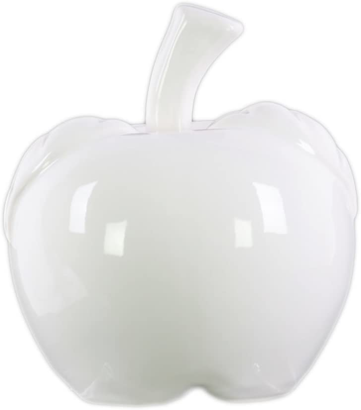 "Urban Trends 7.5"" Ceramic Apple Figurine LG Gloss Finish White"
