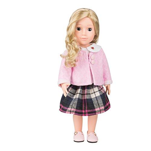 MeiMei 18 inch Girl Doll with Blond Hair Blue Eyes Full Vinyl School Uniform Toy Gift Box for Kids Age 3+