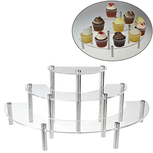 Clear Acrylic 3 Tier Half Moon Shelf Unit, Table Top Retail Display Riser, Spice Jar Rack