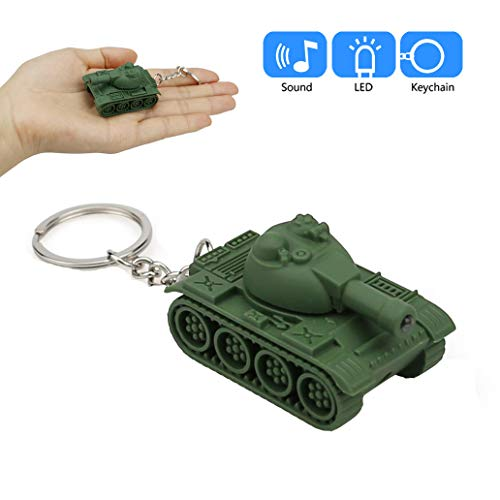 Coerni Gift for Friends Cute Keychain with LED Light and Sound Keyfob Kids Toy Gift (Tank-Green)