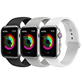 AdMaster Compatible for Apple Watch Band 38mm 40mm Soft Silicone Sport Strap Compatible for iWatch Apple Watch Series 1 Series 2 Series 3 Series 4 S M Size Black Pebble White