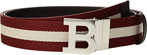 Bally  Men's B Buckle Bally Stripe Canvas and Leather Belt Chocolate/Red/Beige 85 cm (34 in.) Bally Leather Belt