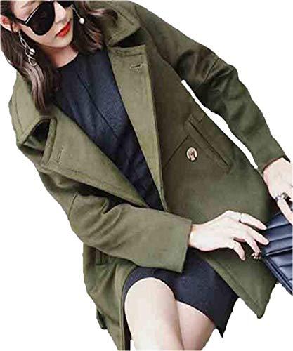 Manteau Femme Longues Elgante Branch Uni Manche Automne Coat Hiver Costume Manches Longues Revers Large Loisir paisseur Warm Outwear Armgrn