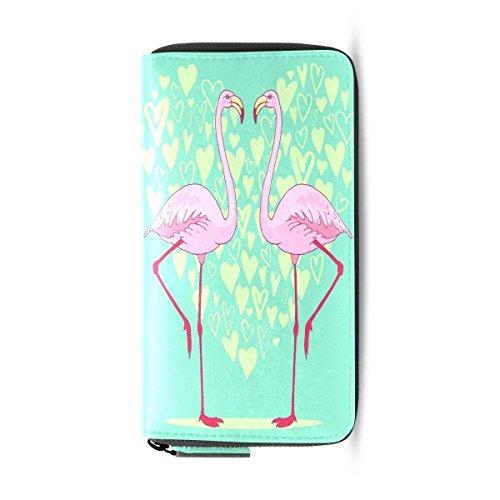 Womens Wallets Valentine Flamingo Bird Love Heart Passport Clutch Purse Handbag ()