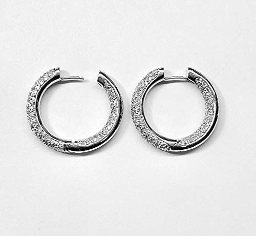 (Diamond Hoop Earrings 1.79cts. Inside/Outside Pave Set in 18kt Gold )