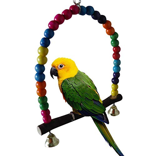XOBULLO Bird Toys Colorful Parrot Swing Stand Bird Cage Toys for Parrots 2 Size Climb Ladder Birds Parrots Toys,B ()