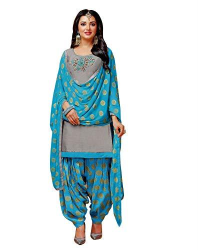 (Ladyline Ready to Wear Kora Silk Handwork Salwar Kameez Suit with Patiala Salwar with Jacquard Dupatta (Size_42/ Gray))