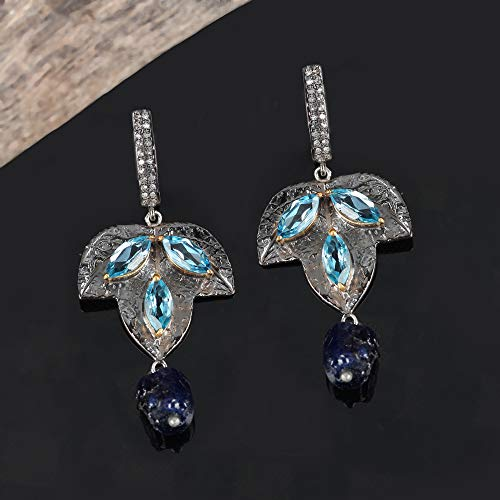 Natural 3.5 Ct. Topaz Pave Diamond Druzy Sapphire Leaf Shape Dangle Earrings Solid 925 Silver Handmade Fine Jewelry Christmas Gift For Her ()