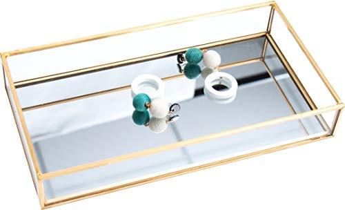 Cq acrylic Decorative Tray,Gold Mirror Tray for Jewelry,jewelry tray storage Organizer Makeup Tray for Vanity, Dresser, Pack of 1 (Mirror Jewelry Tray)