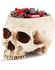 Halloween Skull Candy Holder Bowl, Artificial Resin Skull Head Skulls Decor, Skull Shaped Flowerpot Plant Holder Scene Decoration