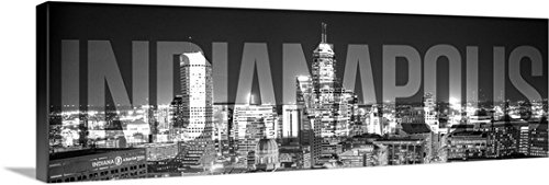 CanvasOnDemand 2441476_24_60x20_None Circle Capture Premium Thick-Wrap Canvas Entitled Indianapolis Skyline, Transparent Overlay Wall Art Print 60