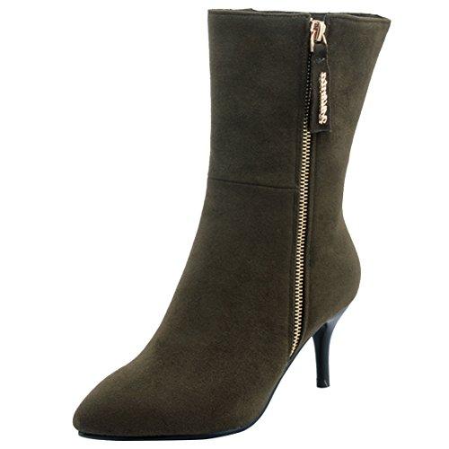Odomolor Damen Ziehen auf Stiletto PU Leder Rein Knöchel Hohe Stiefel, Rot, 38