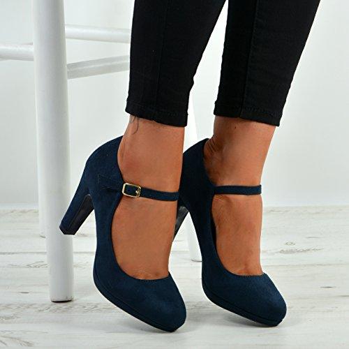 8 Block Cinturino Alla Scarpe Alta Nuove Con Caviglia Fibbia 3 Uk Taglia Blu Donne Tacco Ladies 0TB6gxqw