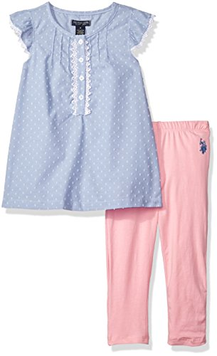 (U.S. Polo Assn. Girls' Little' 2 Piece Chambray Top and Capri Legging Set, Prism Pink, 5)