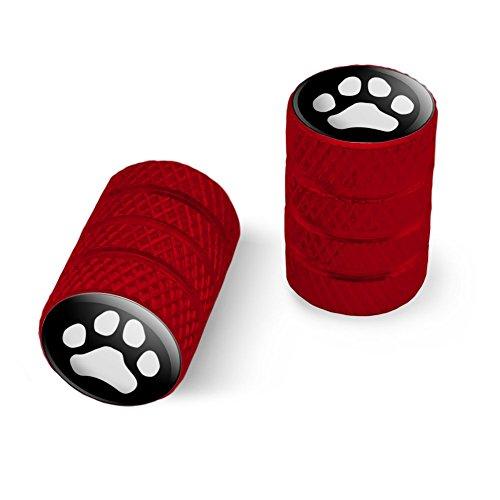 オートバイ自転車バイクタイヤリムホイールアルミバルブステムキャップ - 赤 Pawプリント犬猫ホワイト(ブラック)