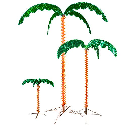 Deluxe Tropical LED Rope Light Palm Tree with Lighted Holographic Trunk and Fronds (7.0 Foot) (Tree 7 Led Christmas)