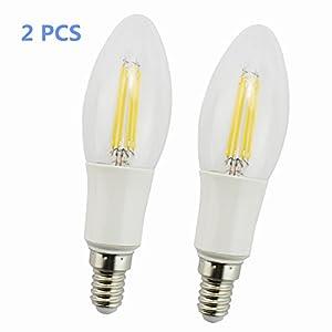 RUICAIKUN Energy Saving 4-Watt LED Filament Candelabra Light Bulb Soft White 2700K Torpedo Tip Exact Equivalent to Standard 60W Incandescent Chandelier Bulb(85-265V)pack of 2 (Milk White, Torpedo Tip)