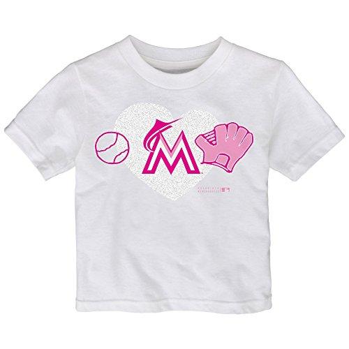MLB Miami Marlins Toddler Girls Love Baseball Tee, 2T, White