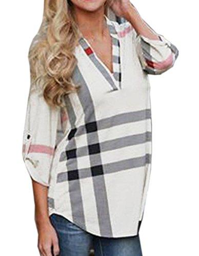 Blanc Tops Veste Carreaux Smile 4 3 Slim Mode Manches Rayures Femme Chemise Col V YKK qEqx1rwtO6