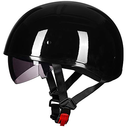 ILM Half Motorcycle Helmet with Sunshield Quick Release Strap Fit for Bike Cruiser Scooter Harley DOT Approved (L, Gloss Black)