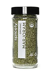 Spicely Organic Marjoram Whole - Glass Jar - Gluten Free - Non Gmo - Vegan - Kosher