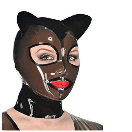 100% Sexy Latex Unisex Hood Mask with Ear Wear Rubber Mask Fetish Club ()