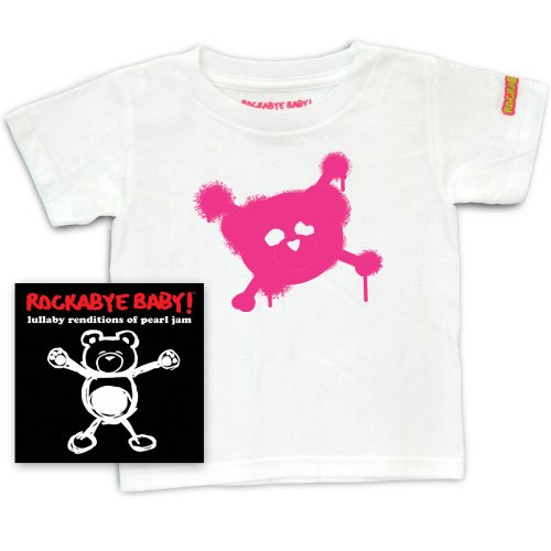 Rockabye Baby! Lullaby Renditions of Pearl Jam+ Rockabye Baby 100% Organic Cotton Toddler T-Shirt (White/Pink) ()