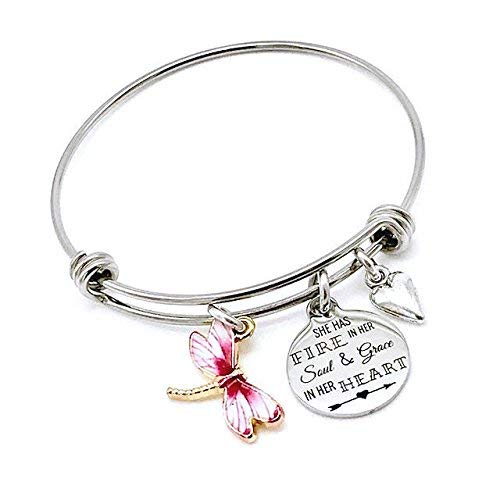 She Has Fire in Her Soul & Grace in Her Heart, Inspirational Dragonfly Expandable Bangle Bracelet ()