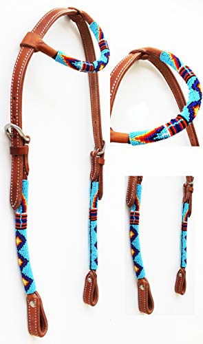 Bridle Ear (PRORIDER Horse Show Bridle Western Leather Headstall Beaded Overlay One Ear 79RT01HA)