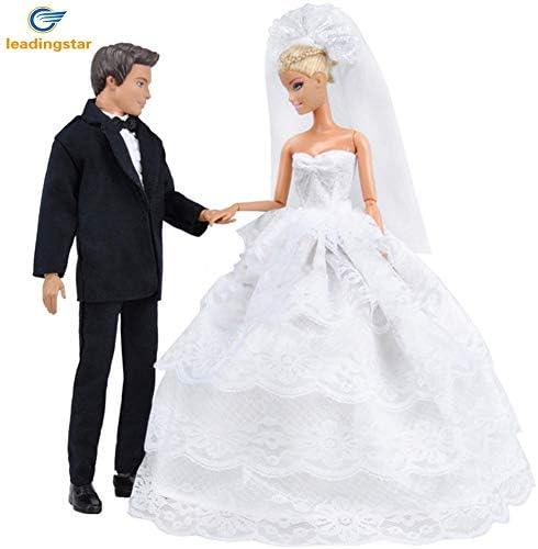 Murakush ウェディングドレス 王子ドールスーツ 服セット プリンセス 人形用 白 5層 レース