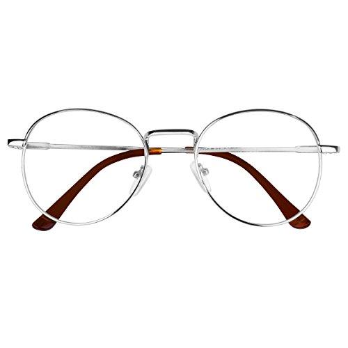 Forepin® Lunette de Vue Femme Homme Unisex Vintage Retro Monture Metalique  Mode Fashion Eyeglasses Lunettes Verre Transparent Cadre Frame Lentille  Claire ... ca3593c134a6