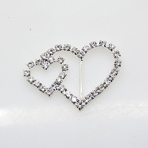 (40pcs 39mm x 25mm Heart Shaped Rhinestone Ribbon Buckle Slider for Wedding Invitation Letter Christmas Buckles)
