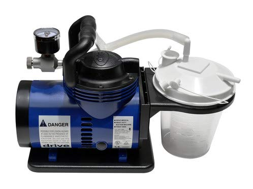 """Heavy Duty Mucus Secretion Machine For Home Use Includes 800 cc suction canister, 6' suction tube, 10"""" suction canister tubing, hydrophobic filter, plastic elbow conn"""