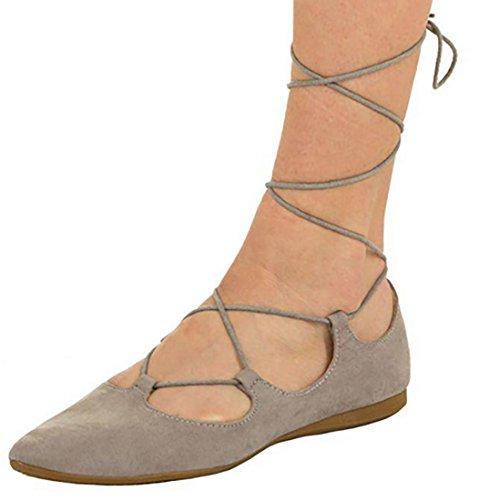 bamboline MYWY intrecciati tipo scarpe lacci scarpe Ballerine donna basse camoscio Beige 0XwqxnrTXZ