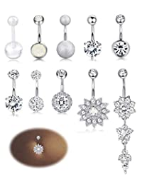 Adramata 10-12PCS Stainless Steel Belly Button Rings for Womens Girls Navel Rings Barbell Dangle Acrylic CZ Body Piercing Jewelry